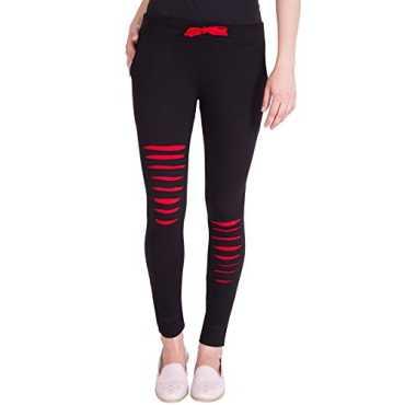 American-Elm Women s Black Designer Cotton Track Pant