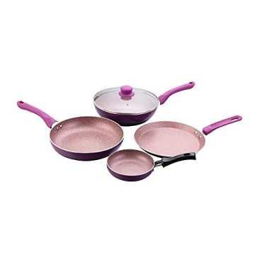 Wonderchef Royal Velvet Induction Base Aluminium Cookware Set With Free Mini Frying Pan, 4-Pieces, Purple