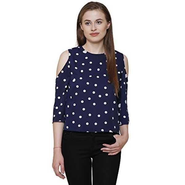 Navy Blue cold shoulder long sleeves polka dotes crepe women s top