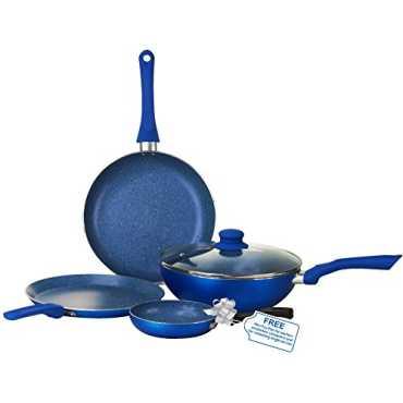 Wonderchef Royal Velvet Induction Base Aluminium Cookware Set With Free Mini Frying Pan 4-Pieces Blue