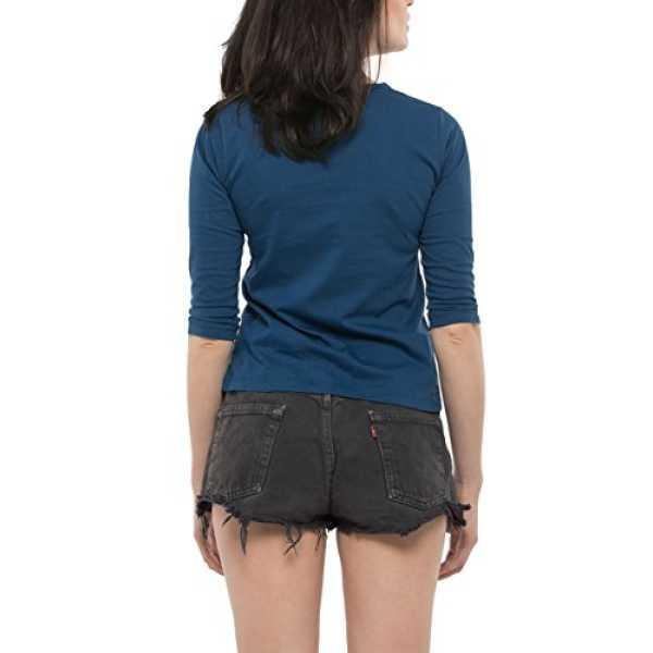 Bewakoof Ocean Blue Women's Cotton Plain Round Neck 3/4 Sleeve T-Shirts