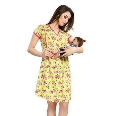 AV2 Women Printed Feeding Maternity Nursing Nightdress Short Nighty