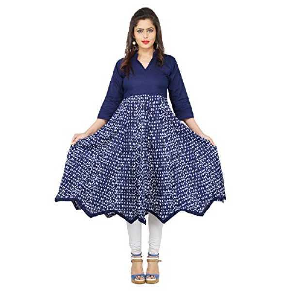 AnjuShree Choice Women's Blue Cotton Anarkali Kurti
