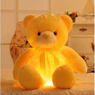EZ Life Illuminating 7 Color LED Light - Teddy Pillow Plush Soft Toy - Yellow