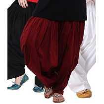 Bottomline Women s Cotton Patiala Salwar Combo _Black Maroon and White_Free Size