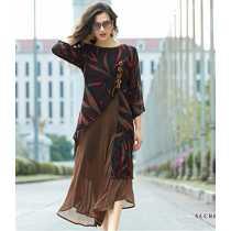 Fabdiamond Women s Dress 1104-Bhuro_Brown_X-Large