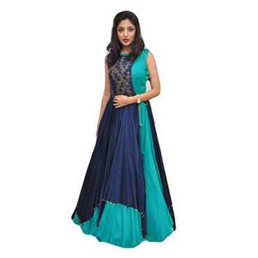 Ecolors Fab Women's Silk Anarkali Dress Material (Ec_519_00_Blue_Free Size)