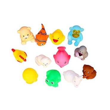 Vistaratrade Non-Toxic Soft Chu Chu Animal Bath Toys Set Of 12 Multi-Color