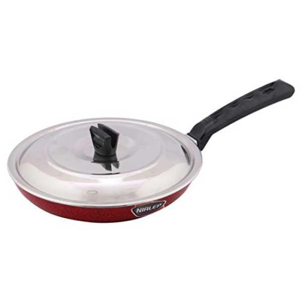 Nirlep Aspa Aluminium WL Fry Pan with Lid, 24cm