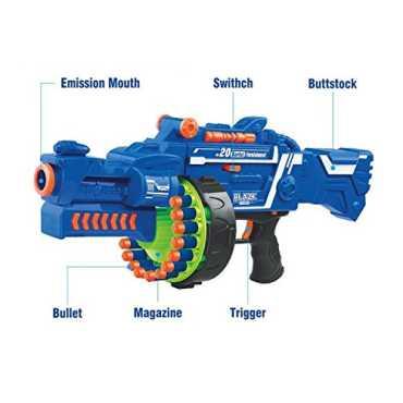 Toyshine Blaze Storm Soft Bullet Automatic Gun 40 Darts Included Blue