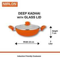 NIRLON 2 Pieces Combo Ceramic Nonstick Induction Cookware Gift Set Frying Pan 24cm 4 5cm Deep Kadai 22 cm 7 cm Brown Orange Colour May Vary