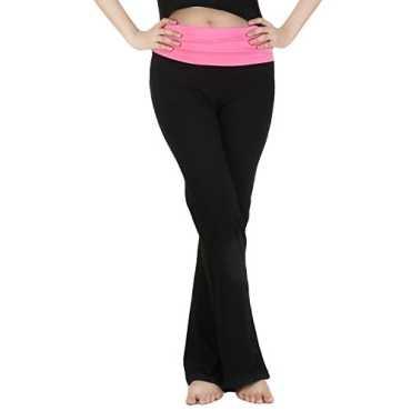 Nite flite Women's Black Foldover Yoga Pants with Pink Waistband