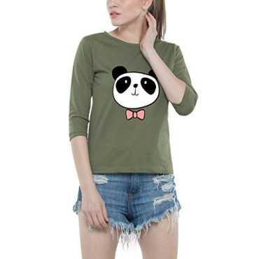 Bewakoof Dressy Panda Women's Cotton Printed Round Neck 3/4 Sleeve T-Shirts