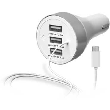 Portronics Car Power2 Car Charger(With 3 USB Ports) - White
