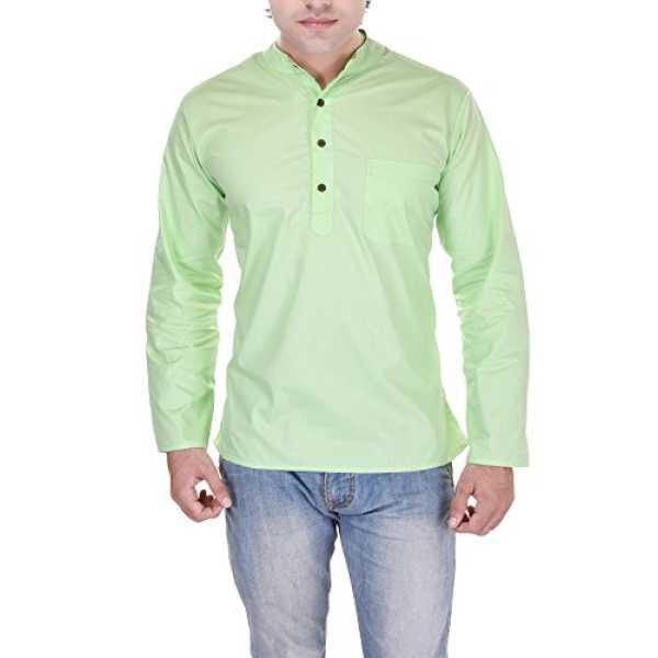 Kalrav Fashion Men's Cotton Kurta_KMKR0043_Green_S