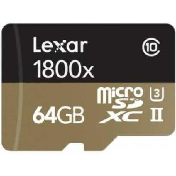 Lexar LSDMI64GCRBNA1800R 64GB Class 10 MicroSDXC Memory Card