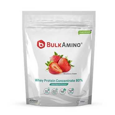 Advance Nutratech Bulk Amino Whey Protein Concentrate 80% Powder (500gm, Strawberry Cream)