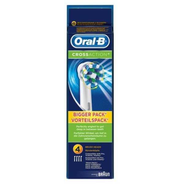 Oral-B  Cross Action Brush Head Refills Brush Heads (Pack of 4) - White