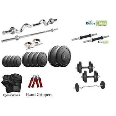 Body Maxx 20Kg Home Gym Set 2x14inch Dumbbell Rods 3ft Curl Rod 5ft Plain Rod Gloves Gripper
