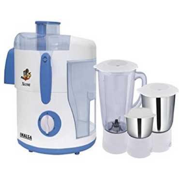 Inalsa Xcent 550W Juicer Mixer Grinder (3 Jars) - White | White/blue