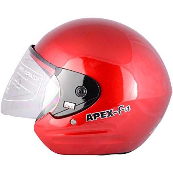 AARON Apex Fit Open Face Helmet (Medium) - Red | Silver | White