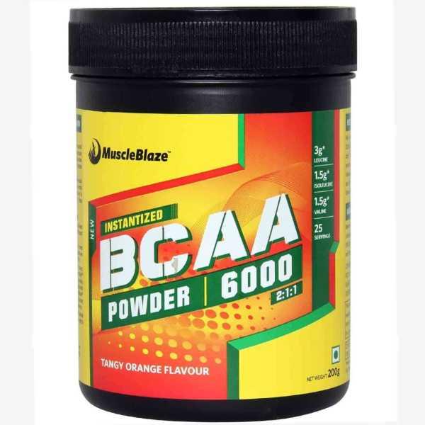 MuscleBlaze BCAA 6000 Powder (200gm, Tangy Orange) - Orange