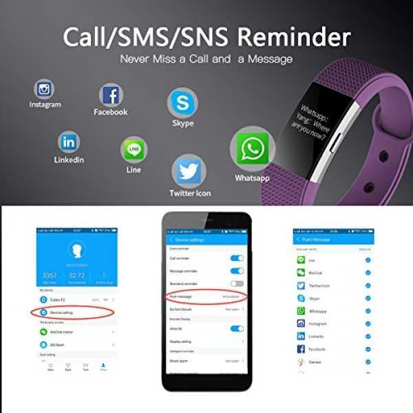 Bingo F2 Heart Rate Bluetooth Smart Fitness Band - Black | Green | Purple | Pink | Blue