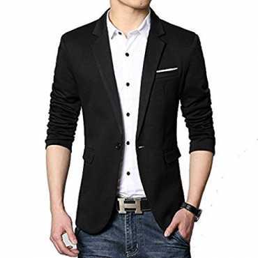 Vijay Collection Mens Slim Fit Casual Blazer Jet Black 42