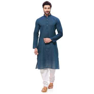 RG Designers Mens Handloom Green Blue Kurta