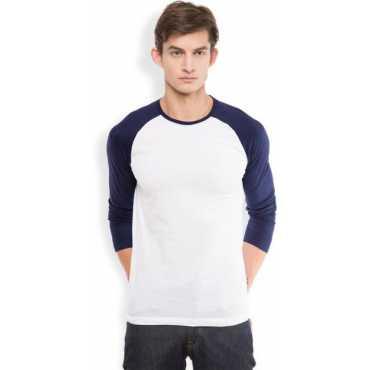 Solid Men s Round Neck White T-Shirt