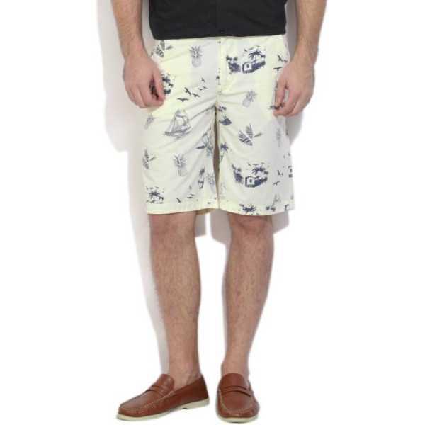 Printed Men's Yellow Basic Shorts