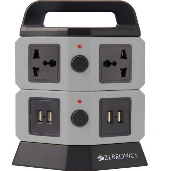 Zebronics Extension 4 USB Port & 4 Socket Surge Protector