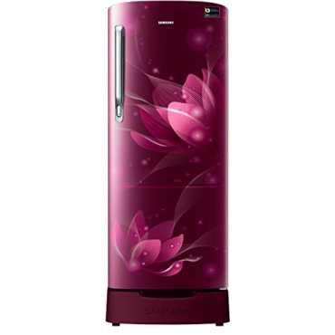 Samsung RR20N182XB8/HL 192 L 5 Star Inverter Direct Cool Single Door Refrigerator (Blooming Saffron) - Red | Black