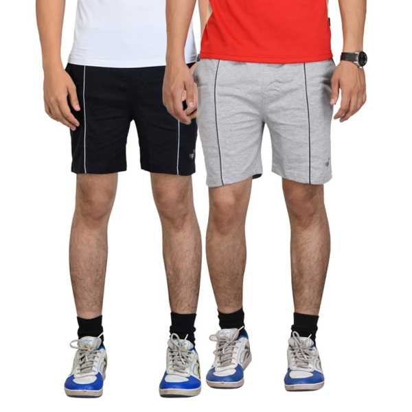 Black & Gray Cotton Shorts for Men (Pack of 2)