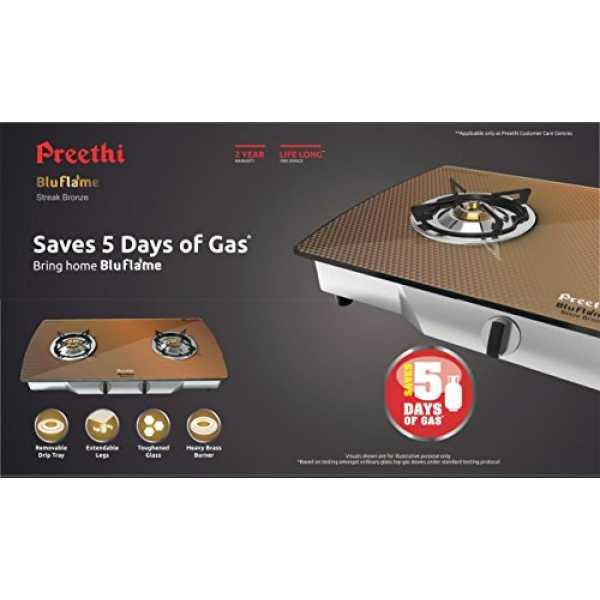 Preethi Blu Flame Steak Bronze Gas Cooktop (2 Burner) - Bronze
