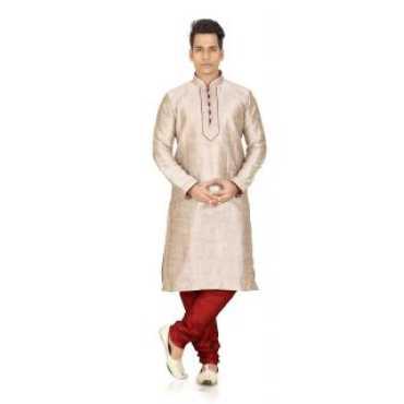 Golden Silk Kurta with Churidar Pyjama for Mens by Trustedsnap