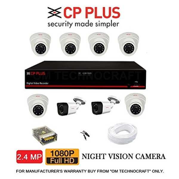 CP PLUS  CP-ER-0804E1-TS 8 Channel DVR, 6(CP-GTC-D24L2-V3) Dome Camera, 2(P-GTC-T24L2C-V3) Bullet Camera (With Accessories)