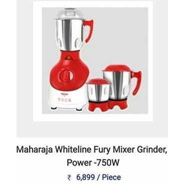 Maharaja Whiteline Fury 750W Mixer Grinder (3 Jars) - Red & White