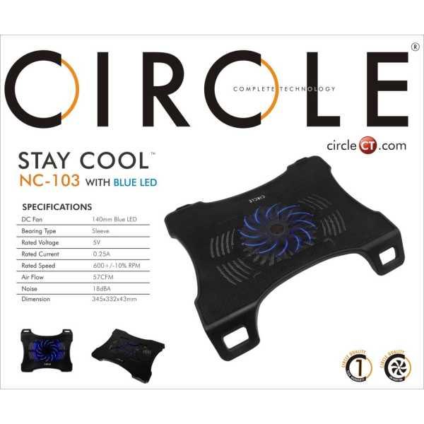 Circle NC103 Laptop Cooling Pad - Black