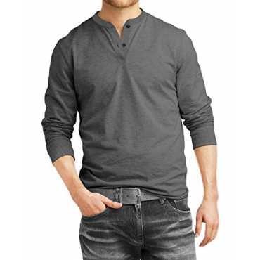 Fanideaz Men's Cotton Henley Full sleeve T Shirts for Men(Premium Charcoal Melange Henley T-Shirt)_Charcoal Melange_L