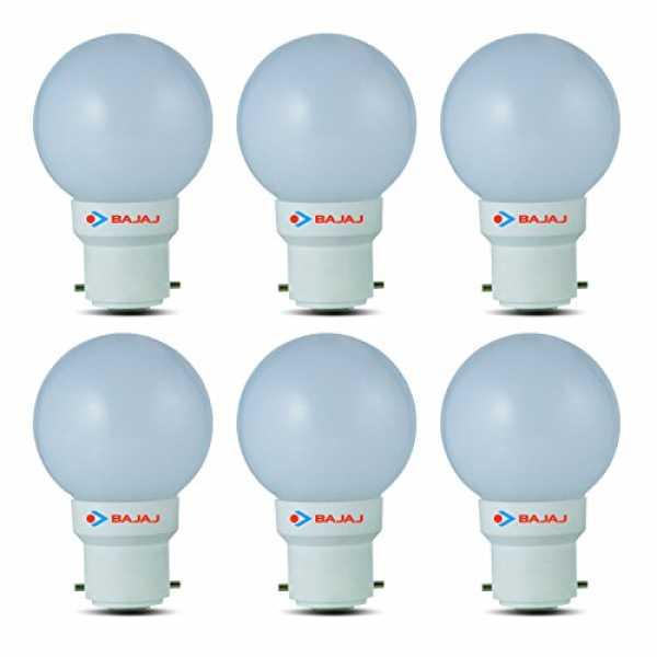 Bajaj 0.5W B22 LED Bulb (White, Pack Of 6) - White