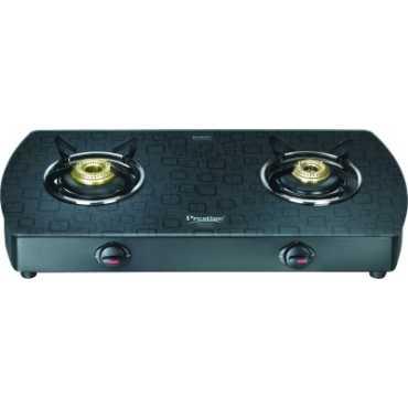 Prestige Premia GTS 02 (D) AL 2 Burner Gas Cooktop - Black
