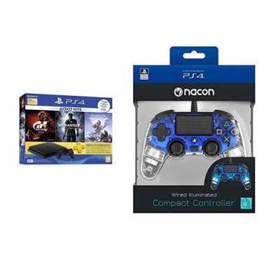 Sony PS4 500 GB Slim Console (Uncharted 4,Horizon Zero Dawn,Gran Turismo Sport,Nacon Wired Illuminated Compact Controller)