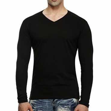Tees Collection Men s V-Neck Full Sleeve Cotton T-shirt Medium