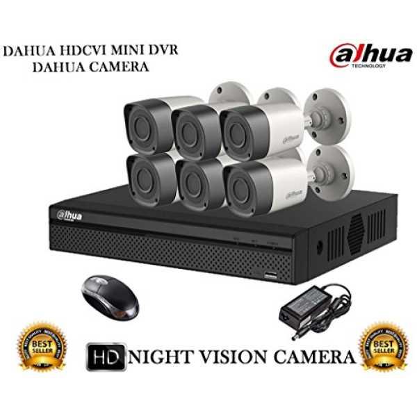 Dahua DH-HCVR4108HS-S2 8CH Dvr, 6(DH-HAC-HFW1000RP-0360B) Bullet