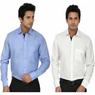 Fizzaro Men's Solid Formal Light Blue, White Shirt