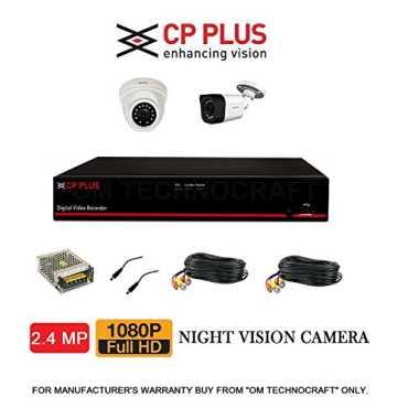 CP PLUS CP-ER-0404E1-TS 8 Channel DVR, 1(CP-GTC-D24L2-V3) Dome Camera, 1(CP-GTC-T24L2C-V3) Bullet Camera (With Accessories) - Black