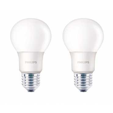 Philips 6W E27 550L LED Bulb (Warm White, Pack Of 2) - White