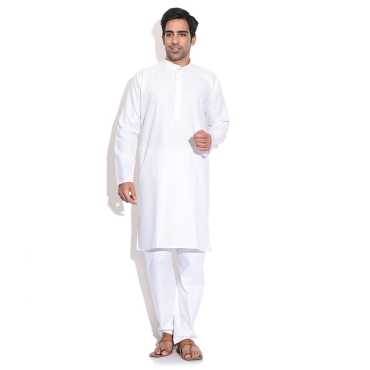MenS White Kurta Pajama Set