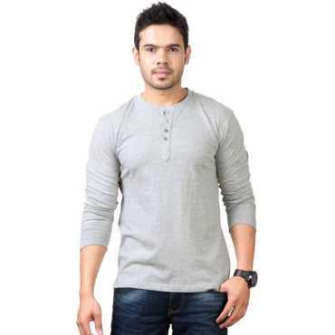 Solid Men s Henley Grey T-Shirt